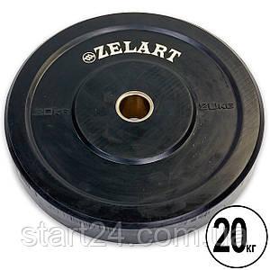 Бамперні диски для кроссфита Bumper Plates гумові d-51мм Zelart Z-TOP ТА-5125-20 20кг (чорний)
