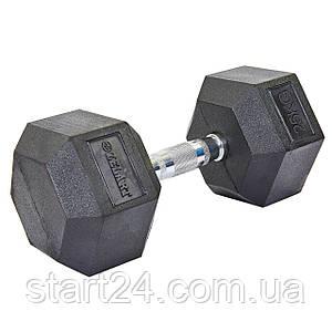 Гантель цельная шестигранная гексагональная ZELART (1шт) TA-5159-25 25кг (сталь хромированная, резина, вес
