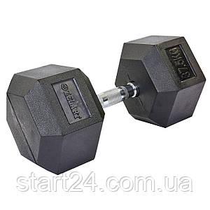 Гантель цельная шестигранная гексагональная ZELART (1шт) TA-5159-37,5 37,5кг (сталь хромированная, резина, вес