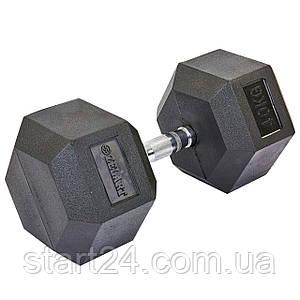 Гантель цельная шестигранная гексагональная ZELART (1шт) TA-5159-40 40кг (сталь хромированная, резина, вес