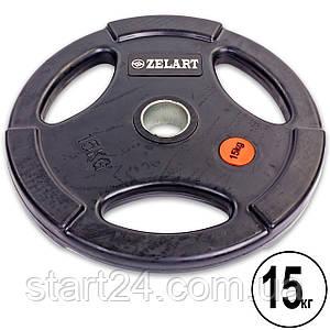 Млинці (диски) обгумовані з потрійним хватом і металевою втулкою d-51мм Z-HIT Zelart TA-5160-15 15кг