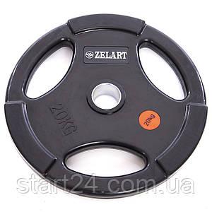 Млинці (диски) обгумовані з потрійним хватом і металевою втулкою d-51мм Z-HIT Zelart TA-5160-20 20кг