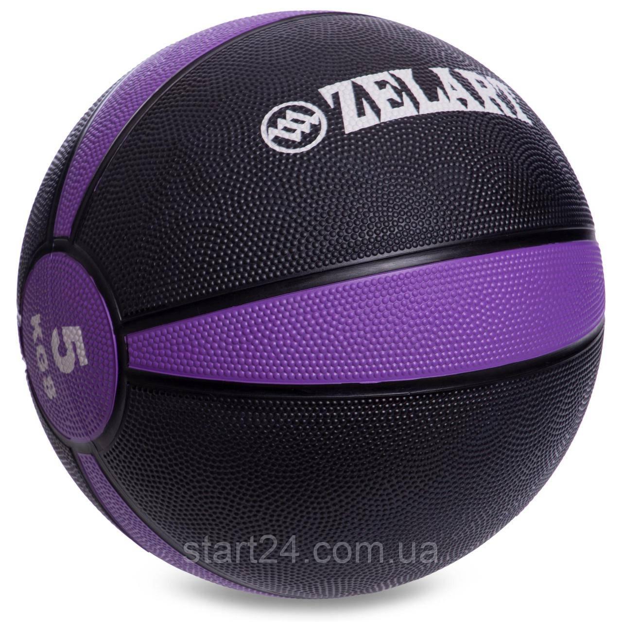 М'яч медичний медбол Zelart Medicine Ball FI-5122-5 5кг (гума, d-24см, чорний-фіолетовий)