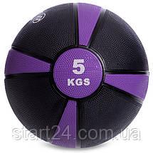 М'яч медичний медбол Zelart Medicine Ball FI-5122-5 5кг (гума, d-24см, чорний-фіолетовий), фото 2