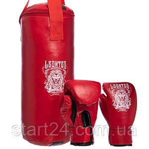 Боксерский набор детский (перчатки+мешок) LEV LV-4686 (PVC, мешок h-40см, d-15см, цвета в ассортименте)