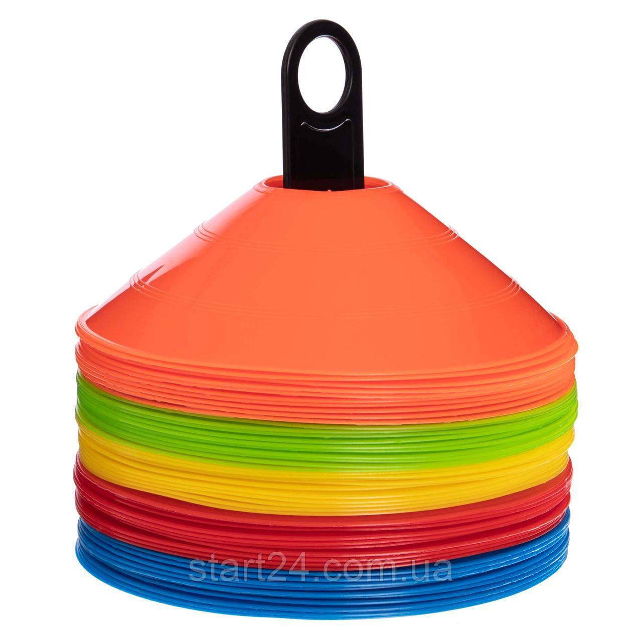 Фишки для разметки поля на пластиковой подставке 50шт С-4347 (d-20см, 50шт, 34гр,уп. цветная короб.,