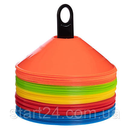 Фишки для разметки поля на пластиковой подставке 50шт С-4347 (d-20см, 50шт, 34гр,уп. цветная короб.,, фото 2