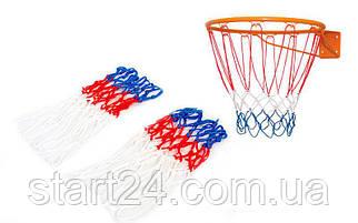 Сетка баскетбольная C-4562 (полипропилен,13 петель, яч. р-р 6x6см, цвет бело-красно-синий, в компл. 2шт)