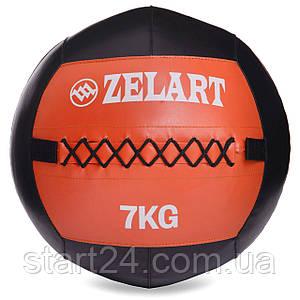 М'яч волбол для кроссфита і фітнесу 7кг Zelart WALL BALL FI-5168-7 (PU, наповнювач-метал. гранули, d-33см,