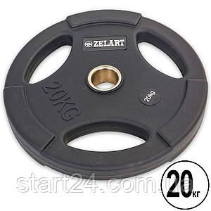 Блины (диски) полиуретановые с хватом и металлической втулкой d-50мм Zelart TA-5336-50-20 20кг (черный)