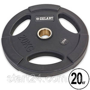 Млинці (диски) поліуретанові з хватом і металевою втулкою d-50мм Zelart TA-5336-50-20 20кг (чорний)