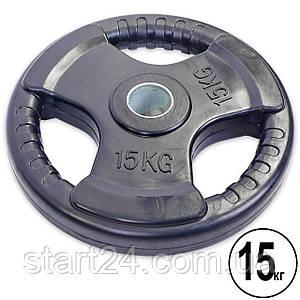 Блины (диски) обрезиненные с тройным хватом и металлической втулкой d-52мм Record TA-5706-15 15кг (черный)
