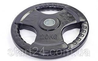 Млинці (диски) обгумовані з потрійним хватом і металевою втулкою d-52мм Record TA-5706-20 20кг (чорний)