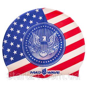 Шапочка для плавания MadWave USA M055303 (силикон, синий)