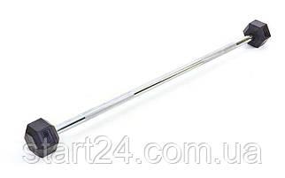 Штанга фиксированная прямая обрезиненная Rubber Hexagon Barbell 45кг Record TA-6230-45 (гриф l-95см)
