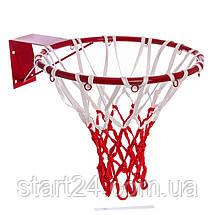 Сетка баскетбольная C-5643 (полиэстер, 12 петель, цвет белый-красный, в компл. 2 шт.), фото 3