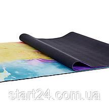 Коврик для йоги Замшевый каучуковый двухслойный 3мм Record FI-5662-19 (размер 1,83мx0,61мx3мм, мультиколор с, фото 3
