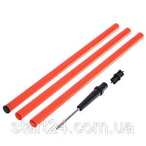 Шест для слалома тренировочный 3 сложения C-5915-OR (пластик,метал. штык для крепл. в грунт, l-1,6м)