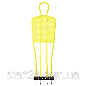 Манекен футбольный тренировочный C-5916 (рост-165см, ширина-50см, пластик, металл, лимонный)