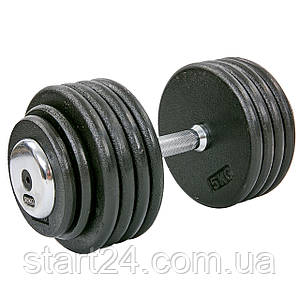 Гантель цельная профессиональная стальная RECORD (1шт) TA-7231-50 50кг (сталь, сталь хромированная, вес 50кг)