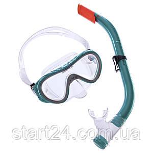Набор для плавания подростковый маска с трубкой Zelart M161-SN93-SIL (10-16лет, т.стекло, цвета в