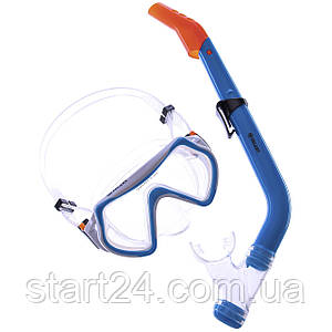 Набор для плавания детский маска с трубкой Zelart M169-SN69-SIL (5-12лет, т.стекло, цвета в ассортименте)