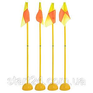 Флаги угловые складные с базой С-7099 (металл, пластик, l-1,5м, в комплекте 4шт, уп. PL чехол)