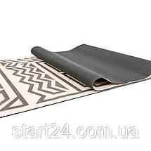Килимок для йоги Замшевий каучуковий двошаровий 3мм Record FI-5662-43 (розмір 1,83мх0,61мх3мм, сірий-чорний), фото 3