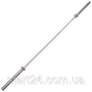 Гриф для штанги Олимпийский профессиональный для Кроссфита TA-7241 (l-2,20м, гр.d-28мм,20кг, нагрузка до