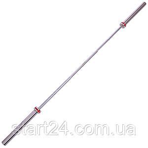 Гриф для штанги Олимпийский профессиональный для Кроссфита TA-7244 (l-2,20м, гр.d-28мм,20кг, нагрузка до