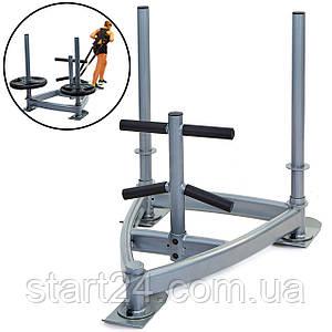 Сани тренировочные для кроссфита+петли Zelart CF6236 SLED (металл, основание р-р 90х90х70см, h-80см)