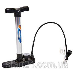 Насос напольный ручной для мячей,велосипедов с манометром CIMA CM-P106-2 (пластик,алюмин,l-33см)
