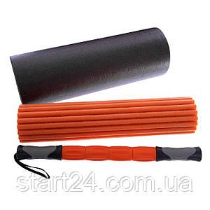 Роллер массажный 3 в 1 (массажер + два роллера для йоги) FI-5715 l-45см (EVA, d-16,5см, черный-оранжевый)