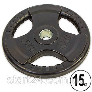 Млинці (диски) обгумовані з потрійним хватом і металевою втулкою d-52мм Record TA-8122-15 15кг (чорний)