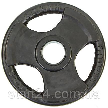 Млинці (диски) обгумовані з потрійним хватом і металевою втулкою d-52мм Record TA-8122- 7,5 7,5 кг (чорний), фото 2