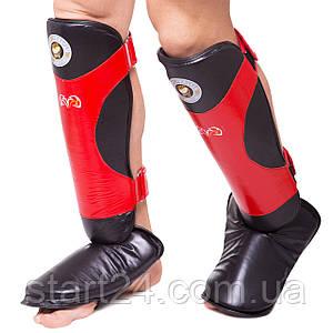 Защита для голени и стопы Муай Тай, ММА, Кикбоксинг кожаная RIVAL MA-6005 (р-р L-XL, черный-красный)