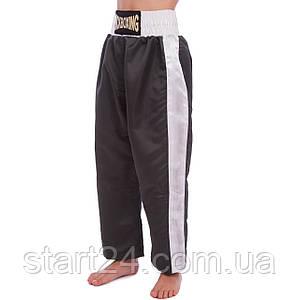 Штаны для кикбоксинга детские MATSA KICKBOXING MA-6731 (полиэстер, 6-14лет, рост 128-170см, черный-белый)