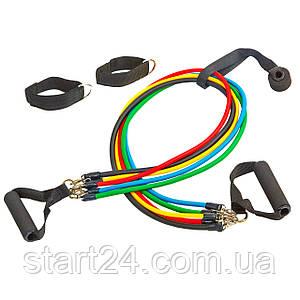 Эспандер Power Bands многофункциональный 5 жгутов FI-5955 (5 жг. с различ. жестк. силикон, l-120см)