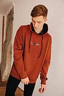Мужское худи с карманом-кунгуру коричневый цвет