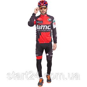 Велоформа длинный рукав SWITZERLAND MS-6825-BK (р-р M-3XL-55-90кг-168-192см, черный-красный)