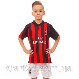 Форма футбольна дитяча AC MILAN домашня 2019 SP-Planeta CO-8039 (р-р 20-28-6-14р, 110-155см,