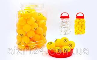 Набор мячей для настольного тенниса 60 штук в пластиковой банке CHAMPION MT-2708 (d-40мм, белый,оранжевый)