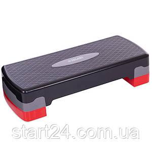 Степ-платформа FI-6290 (пластик, покрытие TPR, р-р 68Lx28Wx10H+5см, черный-красный)