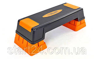 Степ-платформа FI-6291 (пластик, покрытие TPR, р-р 70(75)Lx25Wx12(23)Hсм, черный-оранжевый)