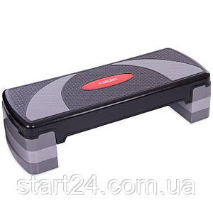 Степ-платформа FI-6292 (пластик, покрытие TPR, р-р 78Lx29Wx10H+5+5см, черный-серый)