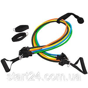 Эспандер Resistance Band многофункциональный 5 жгутов FI-6333 (5 эсп,креп.на дверь, 2рукоят, 2лямки)