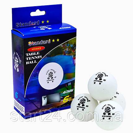 Набір м'ячів для настільного тенісу 6 штук GIANT DRAGON STANDARD 2* MT-5692 (целулоїд, d-40мм, білий) 23022, фото 2