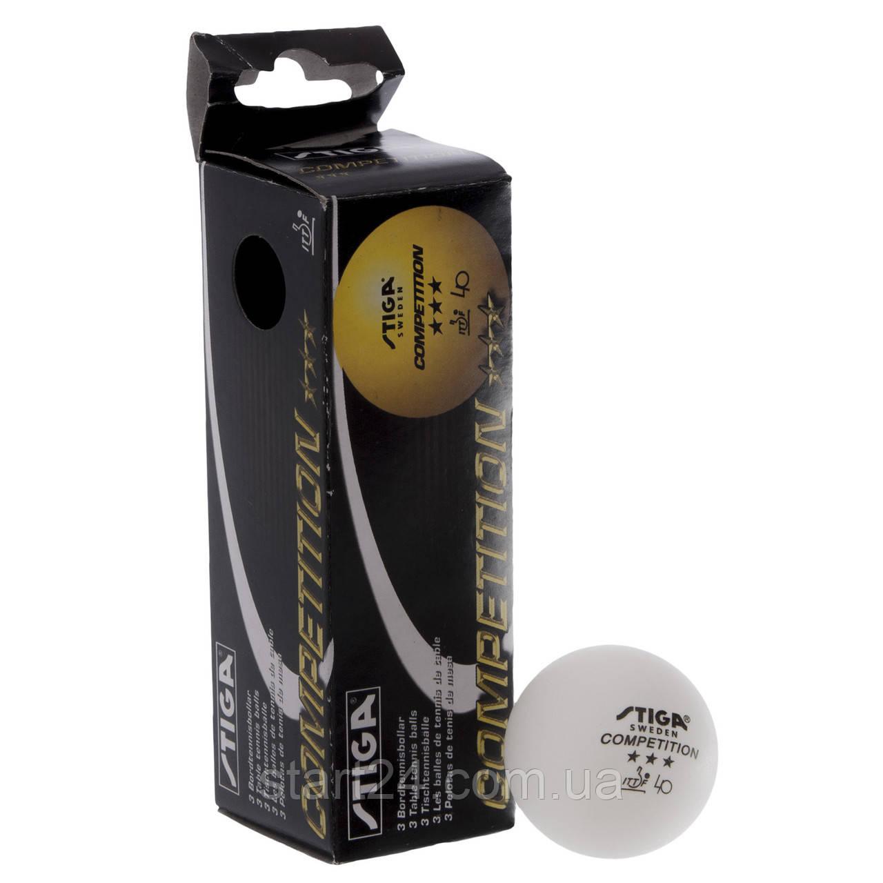 Набір м'ячів для настільного тенісу 3 штуки SGA 3 Star COMPETITION MT-5943 (d-40мм, білий)