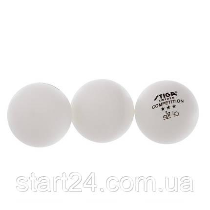 Набір м'ячів для настільного тенісу 3 штуки SGA 3 Star COMPETITION MT-5943 (d-40мм, білий), фото 2