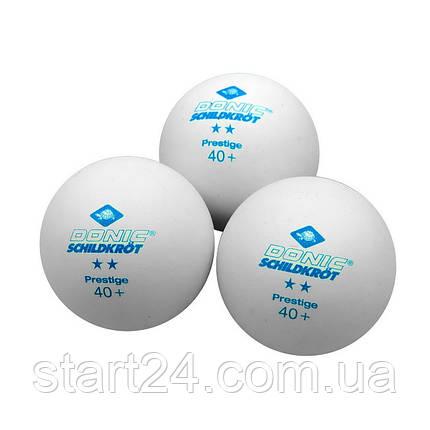 Набор мячей для настольного тенниса 3 штуки DONIC MT-608322 PRESTIGE 2star (пластик, d-40мм, белый), фото 2
